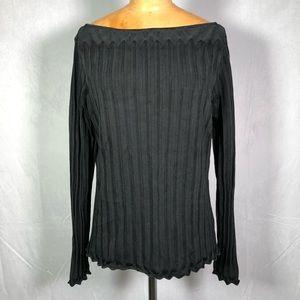 Ralph Lauren black long sleeve silk blouse top